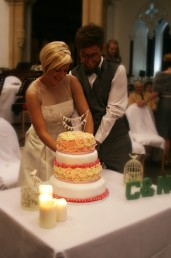 The happy couple cutting the cake