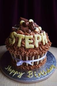 Giant Chocolate Birthday Cupcake